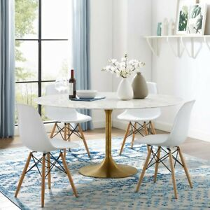 """Lippa 60"""" Faux Marble Top Dining Table, Gold base - MCM  Free Shipping"""