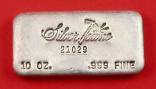 10 oz Vintage Old Hand Poured Silver Towne 999 Fine Silver Bar No : 21029