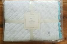 Pottery Barn Baby Pom Pom Organic Quilt Toddler White/Blue New With Tags #M19