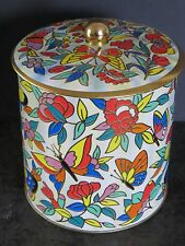 Vintage Tin Designed By Daher Made In England Colorful Butterflies & Flowers
