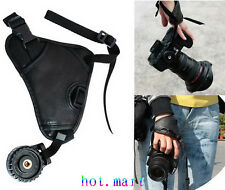 Black Hand Wrist PU Leather Grip Strap For DSLR SLR Digital Camera Canon Nikon