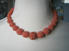 Vintage Deco Carved Celluloid Faux Coral Graduated Beads Necklace