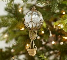 Pottery Barn Hot Air Balloon Mercury Glass Silver Gold Christmas Ornament NWT