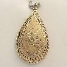Photo Trinket Locket Charm Pendant 8gr Art Deco 14K Gold Hand Etched Teardrop