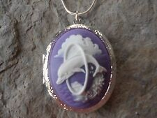 (LOCKET)--STUNNING DOLPHIN CAMEO LOCKET!!! QUALITY!!! CRUISE, NAUTICAL, SEA
