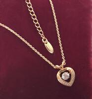Halskette Herz Dancing Perle Anhänger mit Swarovski Kristall 18K Gold vergoldet