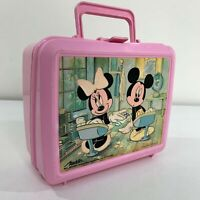 Mickey Minnie Mouse Walt Disney Vintage 80s Aladdin Plastic Lunchbox Lunch Box