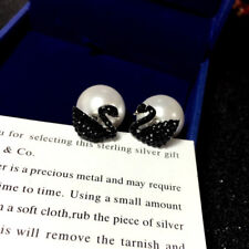 Crystal Black and White Swan Fine Pearl Ladies Earring Stud S925 Silver Needle