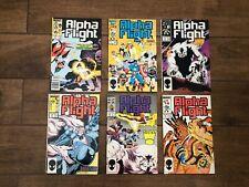 Alpha Flight Marvel Comic Book Lot of 6 #31, 39, 45, 46, 48 ,49 VF 1986