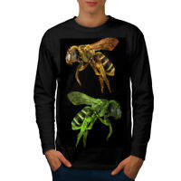 Wellcoda Bee Bug Insect Art Mens Long Sleeve T-shirt, Huge Graphic Design