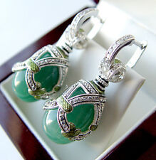 SALE ! GORGEOUS MADE OF STERLING SILVER 925  EARRINGS w/ GENUINE JADE and ENAMEL