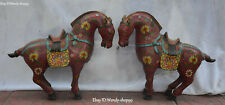 "16"" China Cloisonne Purple Bronze Feng Shui Zodiac Year Horse Animal Statue Pair"