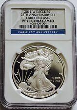 2011 W Proof Eagle 1 Oz Silver Dollar Coin PF 70 Ultra Cameo 25TH Anniversary