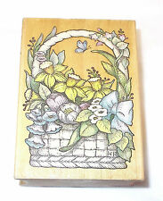 All Night Media Flowers in basket rubber stamp Spring Bouquet Easter stamp  468H