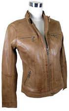 Markenlose Damenjacken & -mäntel aus Leder ohne Muster mit Reißverschluss