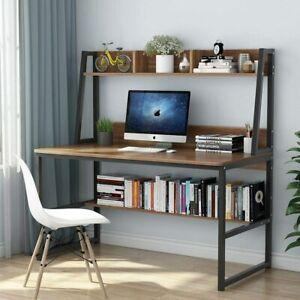 Computer Desk with Hutch, 47 Inches Home Office Desk with Space Saving Design