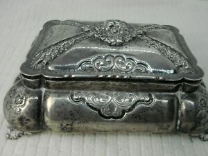 Antique Vintage Silver Jewelry Trinket Box Lion Crest Footed Lion Heads Lined