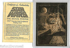 Star Wars Movie Poster 23 KT Karat Gold Card Sculptured
