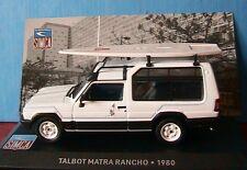 TALBOT MATRA RANCHO 1980 BLANC IXO 1/43 AVEC PLANCHE A VOILE SIMCA WHITE BIANCA
