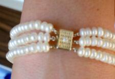 Multi Strand Pearl Bracelet with Diamond 925 Clasp