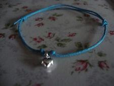 Turquoise & Silver Heart Friendship Bracelet, Adjustable - Cute & Dainty Ts5