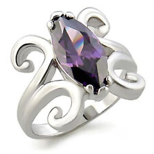 Cocktail Amethyst White Gold Filled Fashion Rings