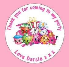 48 Personalised Round Shopkins Birthday Party Stickers Sweet Cone Bags Labels