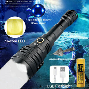 Powerful XHP160 16-CORE LED Torch 30W Light 5 Modes Flashlight USB Rechargeable