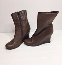 2 Lips Too Leather Wedge Heel Short Ankle Boots Booties Brown 7