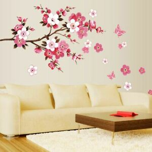 Sakura Branch Wall Stickers Living Bedroom DecorationsDiy Flowers Decals Poster