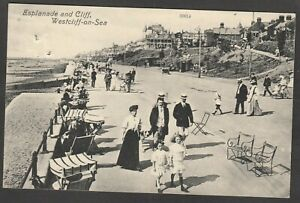 Postcard Westcliff on Sea nr Southend Essex the Esplanade and Cliff posted 1910