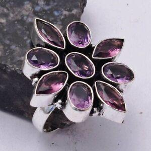 Amethyst Ethnic Handmade Ring Jewelry US Size-8.5 AR 41498