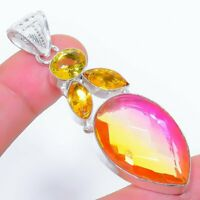 "Bi-Color Tourmaline, Citrine Ethnic Jewelryr Jewelry Pendant 2.6""  AK-3269"