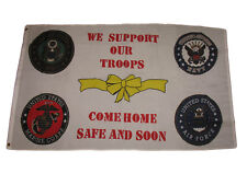 3x5 We Support Our Troops Come Home Safe and Soon 4 Badges Flag 3'x5' Banner