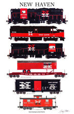 """New Haven Freight Train 11""""x17"""" Railroad Poster by Andy Fletcher signed"""