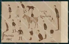 Militari Pinerolo 1902 Scuola Cavalleria cartolina XF2873