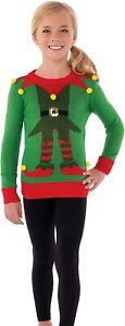 Rubies Green Elf Sweater Child Costume, Medium