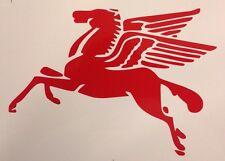 "Mobil Pegasus Car Window Decal / Sticker Red Vinyl 7.5""x10"" Vintage Style RTL"