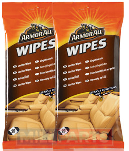2 x Armorall Leather Wipes Leather Cleaner Conditioner Protector