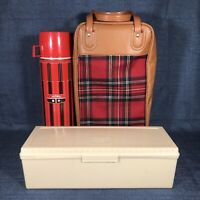 Vintage Thermos Brand By King Seely Plaid Lunch Picnic Set With Case Lunchbox