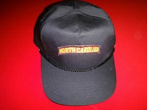 NORTH CAROLINA Black Color Ball Hat With Adjustable Leather Back NEW