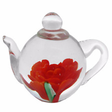 New Handmade Glass Tea pot with Red Peony Flower Paper Weight