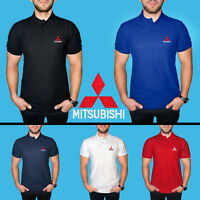 Mitsubishi Polo T Shirt COTTON EMBROIDERED Auto Car Logo Tee Mens Short Sleeve
