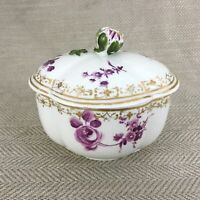 Antico Meissen Porcellana Scatola Viola Fiore Incrostato Dipinto a Mano