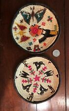 (2) woven Central American baskets bowls birds snakes butterfly vintage folk art