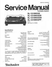TECHNICS SL 1210 M5G - TURNTABLE - SERVICE MANUAL - REPAIR MAINTENANCE -