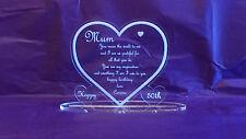 50th Birthday Mum  Engraved Clear Acrylic Heart Keepsake Gift Celebration