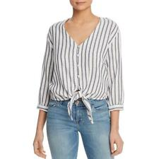 Three Dots Womens Striped Tie Front Blouse Button-Down Top Shirt BHFO 4634
