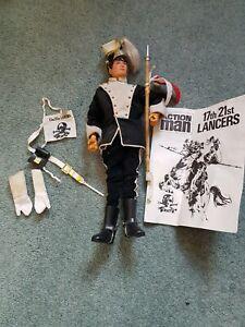 Vintage 1970s Action Man + various accessories. 2 Figures plus empty box