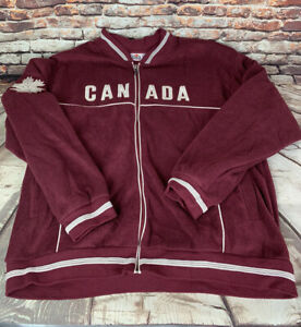 Vintage Canada Spell Out Burgundy Fleece Jacket GBG Collections Mens Sz XL